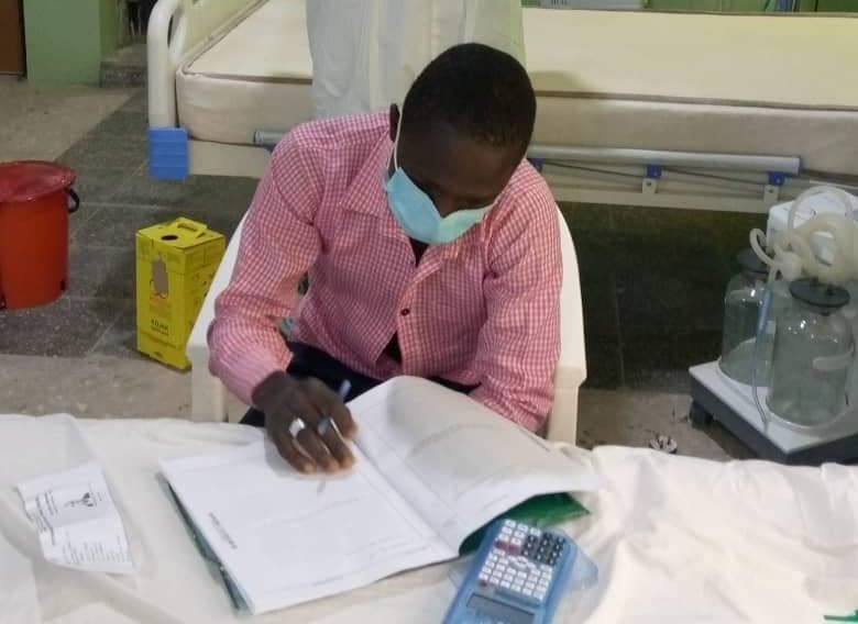The student wrote the exam from his isolation room in Gombe. [Twitter/@GombePHEOC]