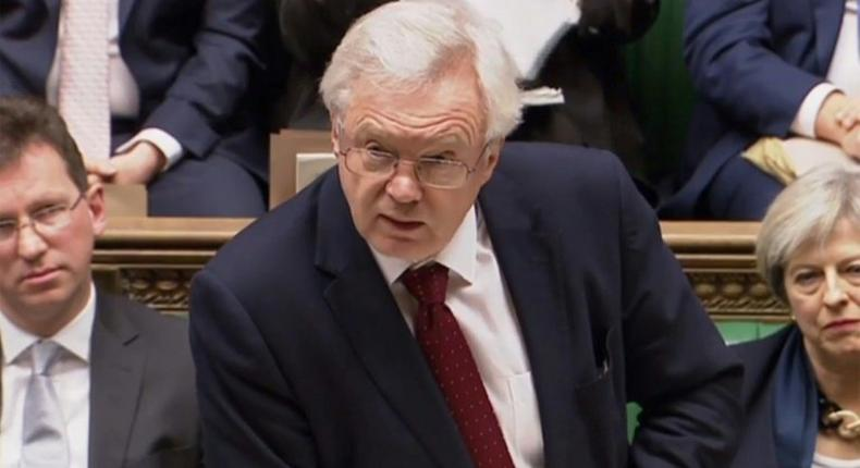 Brexit Minister David Davis makes a statement to the House of Commons on the UK government's Brexit plans as seen in a video grab taken from footage broadcast by the UK Parliamentary Recording Unit (PRU) on January 24, 2017