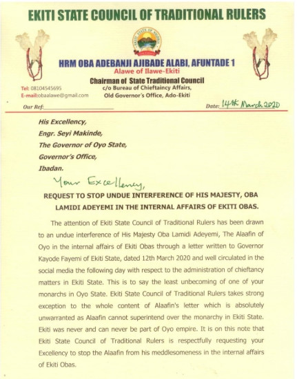A copy of Ekiti State Traditional Council letter to Alaafin of Oyo, Oba Lamidi Adeyemi