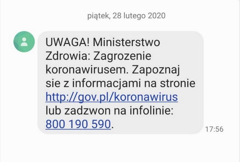 SMS od Ministerstwa Zdrowia