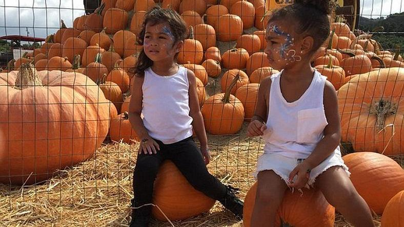 North West and her best friend at a pumpkin patch