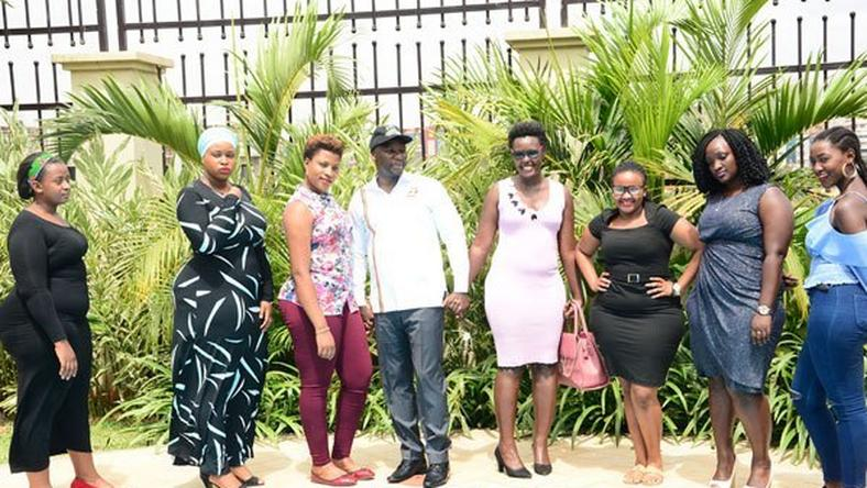 State Minister for Tourism with Ugandan models at the launch of 'Miss Curvy Uganda' [Godfrey Lugaaju NMG]