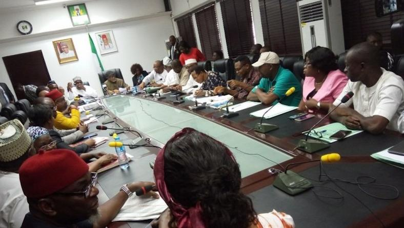 Federal Government representatives and leaders of the Academic Staff Union of Universities during one of their meetings to end ASUU strike