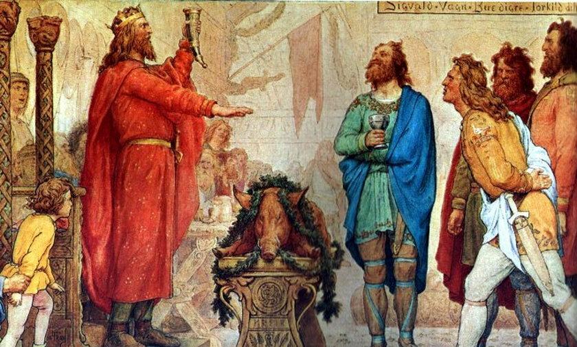 Swen Widłobrody, król Danii i Norwegii, w sagach był przedstawiany jako słaby i nieudolny władca. Zupełne przeciwieństwo Burysława