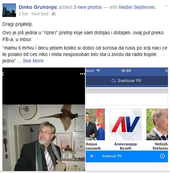 Objava na Fejsbuku Dinka Gruhonjića