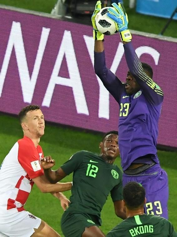 Nigeria's teenage goalkeeper Francis Uzoho comes to claim the ball during his side's defeat at the hands of Croatia
