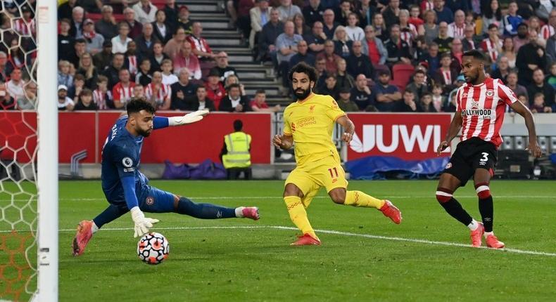 Mohamed Salah scores his 100th Premier League goal for Liverpool against Brentford Creator: Glyn KIRK