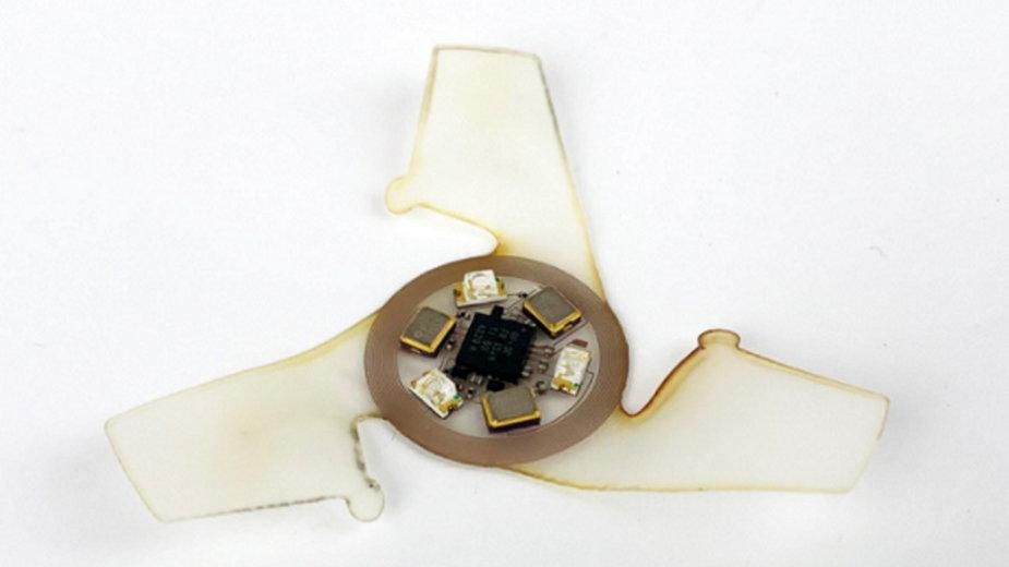 Zbliżenie na latające urządzenie wyposażone w antenę cewkową i czujniki UV, fot. Northwestern University