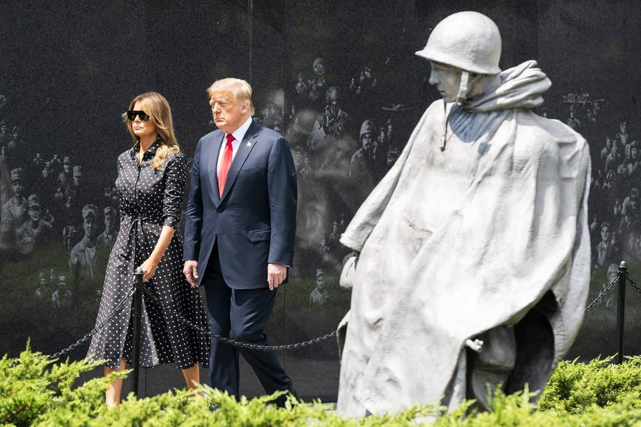 US President Donald J. Trump, alongside First Lady Melania Trump, tours the Korean War Veterans Memorial in Washington, DC, USA, 25 June 2020.