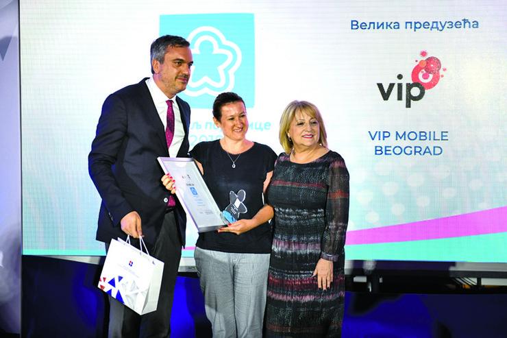 Urucenje nagrade Nataliji Pesic, Vip mobile