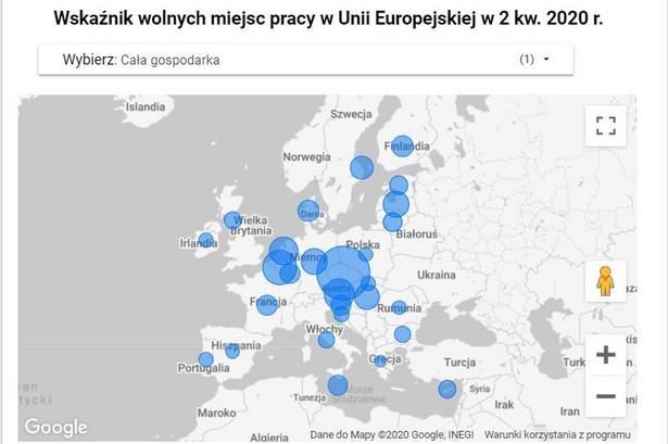 Wskaźnik wakatów w UE - 2k2020