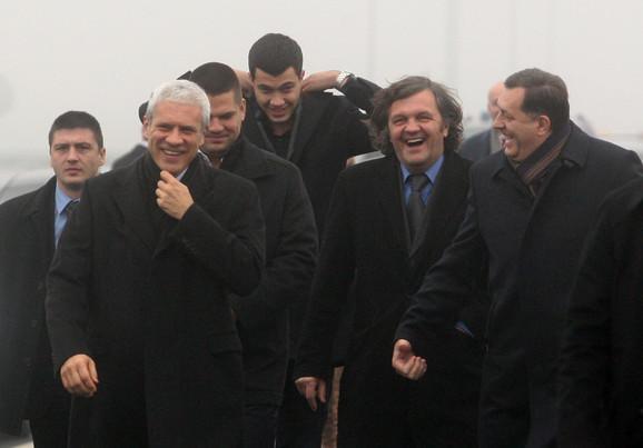 Otvaranje autoputa: Boris Tadić, Emir Kusturica i Milorad Dodik
