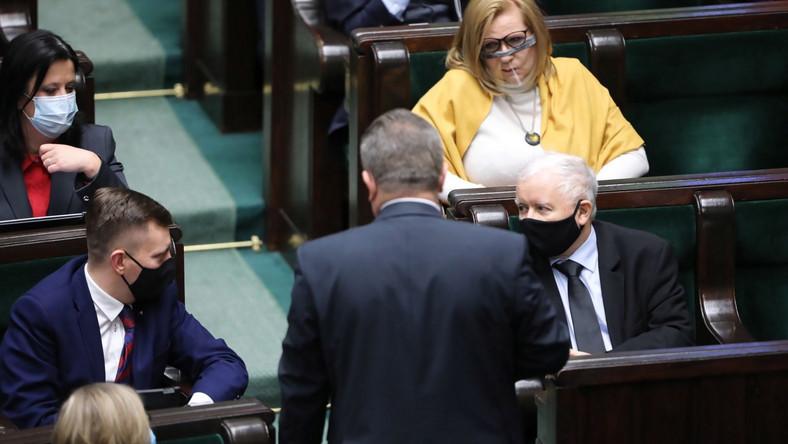 Politycy PiS Jarosław Kaczyński, Małgorzata Gosiewska, Anita Czerwińska, Łukasz Schreiber