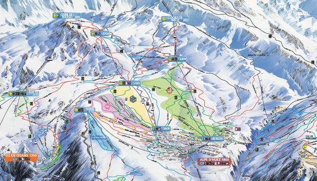 Mapa stoków w L'Alpe d'Huez