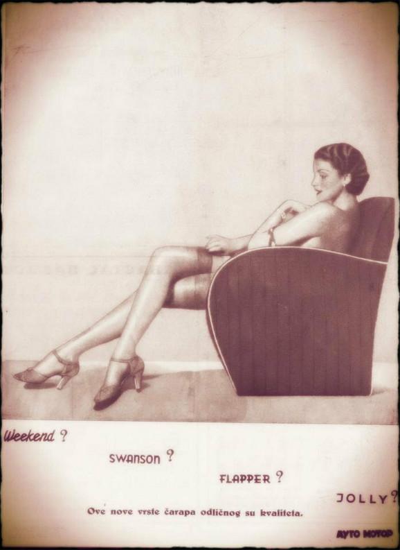 Reklama za ženske čarape iz čednih tridesetih