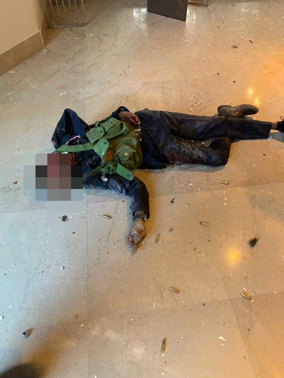 One of the Al Shabaab assailants taken out at the Dusit complex (Twitter)