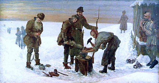 Polscy zesłańcy na Syberii. Obraz Aleksandra Sochaczewskiego