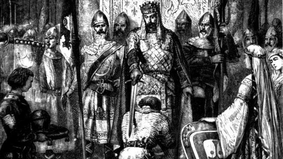 Ceremonia pasowania na rycerza namalowana przez Alphonsa de Neuvilla