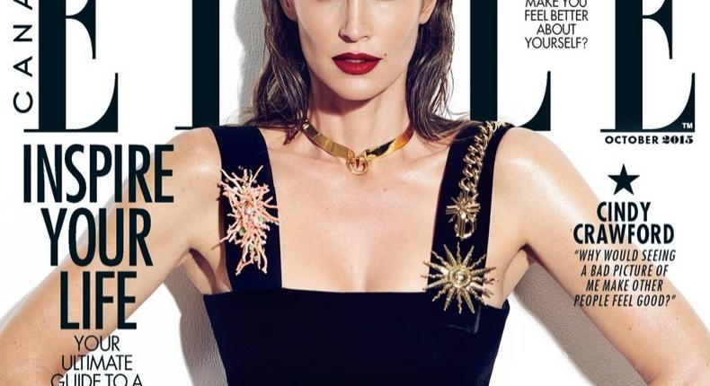 Cindy Crawford covers Elle Canada October 2015 issue