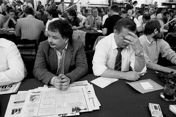 08.07.1990. Stocznia Gdańska. Lech Kaczyński i Lech Wałęsa