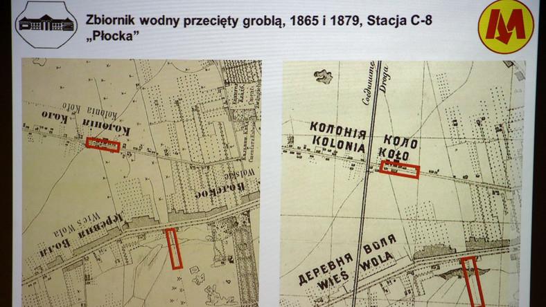 """Wyświetlany na telebimie układ fortyfikacji z września 1831 r. w okolicach powstających stacji metra """"Księcia Janusza"""" i """"Młynów"""