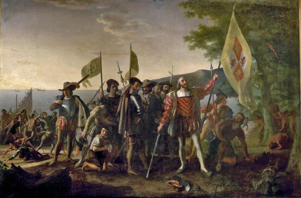 Lądowanie Kolumba w Nowym Świecie, obraz Johna Vanderlyna 1836 r.