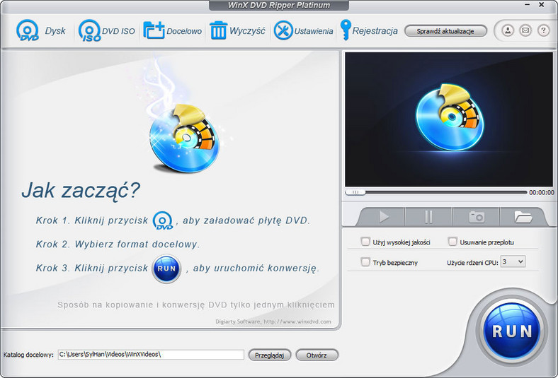 Główne okno programu do ripowania płyt DVD-Video - WinX DVD Ripper Platinum