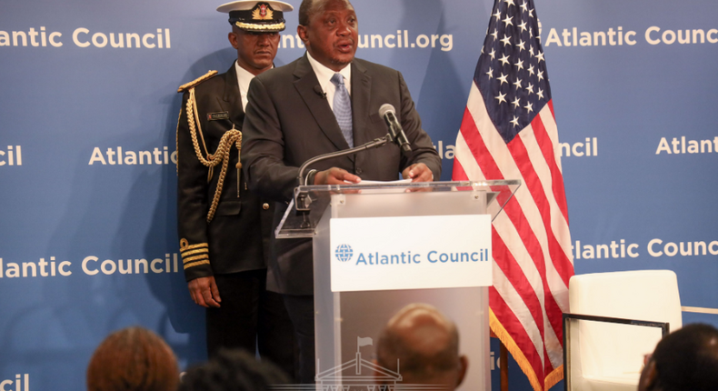 "The Kenyan President, Uhuru Kenyatta, addressing leaders of the Atlantic Council at a forum dubbed ""The Future of The US-Kenya Strategic Partnership"