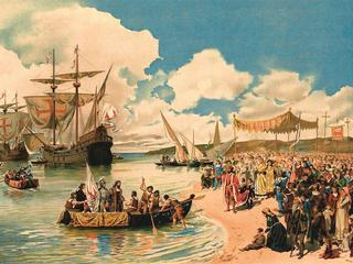 The departure of Vasco da Gama to India in 1497 Alfredo Roque Gameiro