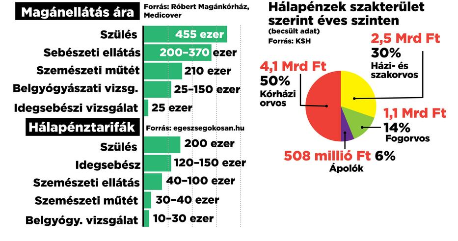 Grafikánk a korábban megszokott hálapénzek összegét ábrázolja, összesen nyolcmilliárd ment az orvosok zsebébe