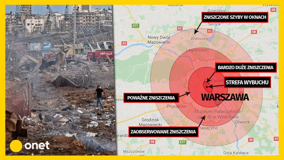 Jak duże byłyby szkody, gdyby do wybuchu doszło w Warszawie?