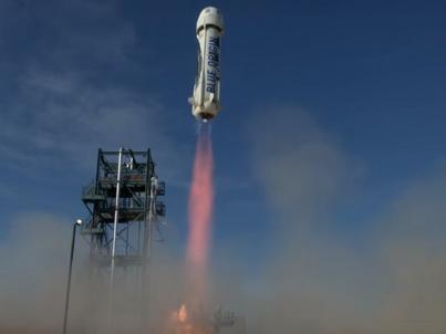 New Shepard, rakieta wyprodukowana przez firmę Blue Origin, założoną przez Jeffa Bezosa