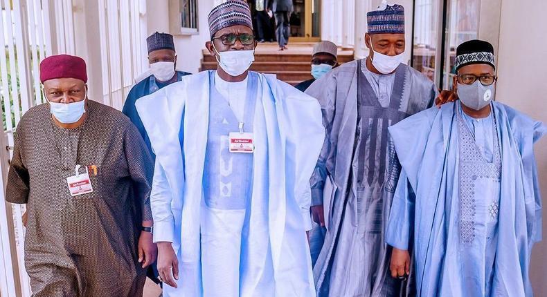 North East governors at the Aso Villa to meet President Muhammadu Buhari. [Twitter/@BashirAhmaad]