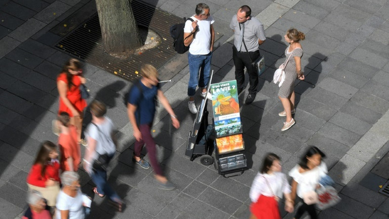 Jehovah's Witnesses display brochures in the French city of Nantes in 2018