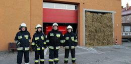 Pomysłowi strażacy zrobili sobie bramę ze słomy