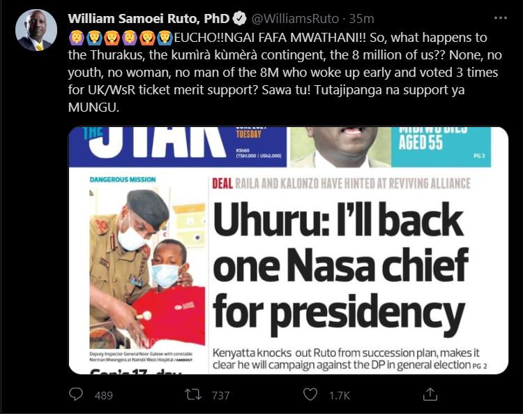 Post on Deputy President William Ruto's verified Twitter handle