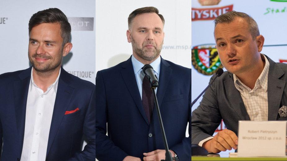 Od lewej: Adam Hofman (były rzecznik PiS, obecnie szef agencji PR R4S), Dawid Jackiewicz (były minister skarbu) i Robert Pietryszyn (były prezes Lotosu)
