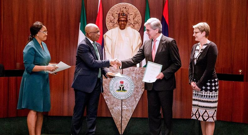 President Muhammadu Buhari presided over Signing of Implementation Agreement for the Nigeria Electrification Roadmap NER), a partnership beween the Nigerian & German Govts & Siemens AG of Germany, to upgrade Nigeria's Power Transmission & Distribution Infrastructure