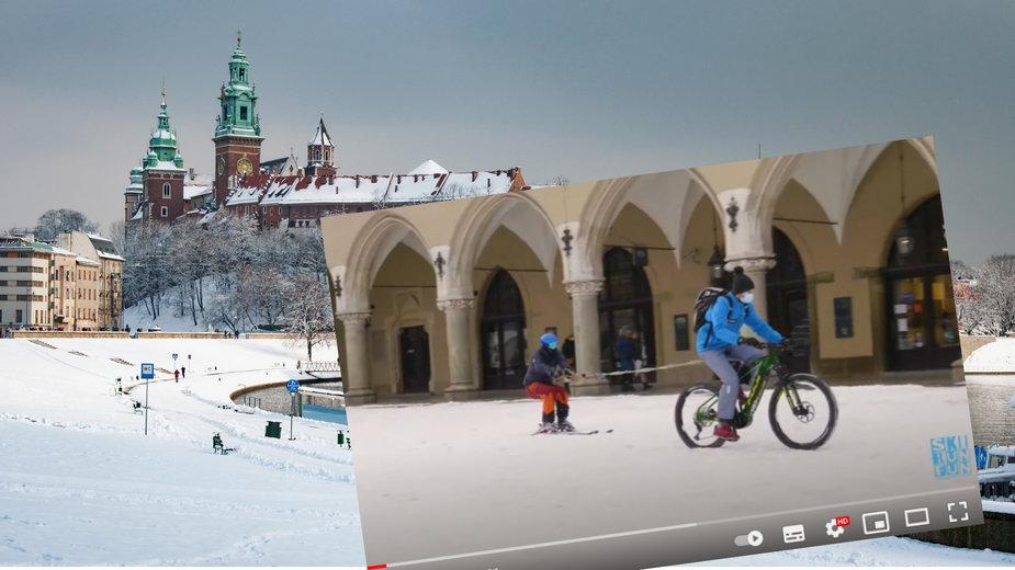 Jeździł na nartach w centrum Krakowa przy pomocy rowerzysty
