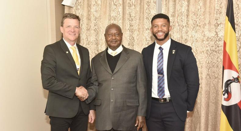 President Museveni and MTN Uganda CEO Rob Shuter (Left)