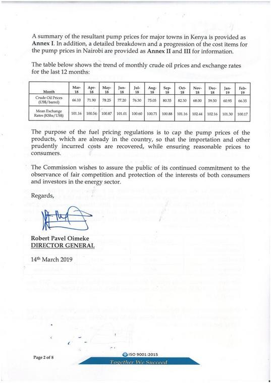 Press release by ERC of the new fuel prices (Twitter)