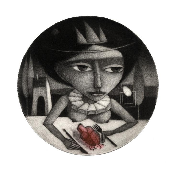 """Snežana Petrović, grafika """"Za stolom"""" (2018), u tehnici mecotinte (12,7 x 12,7 cm)"""
