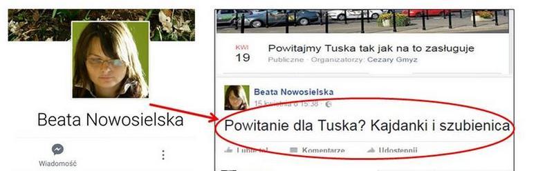 Screen z komentarzem Beaty Nowosielskiej