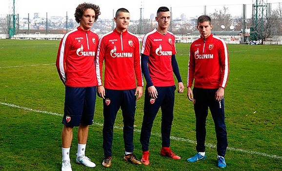 Strahinja Eraković, Dejan Joveljić, Aleksa Terzić i Veljko Nikolić na pripremama prvog tima
