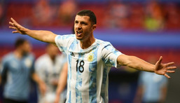 Guido Rodriguez celebrates after scoring the winner for Argentina against Uruguay in the Copa America Creator: EVARISTO SA