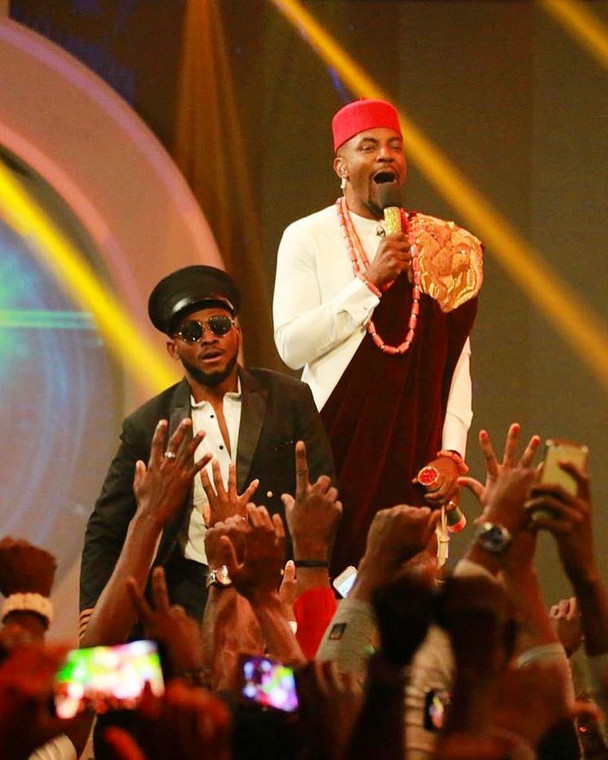 Ebuka and Miracle at the grand finale of Big Brother Naija 3