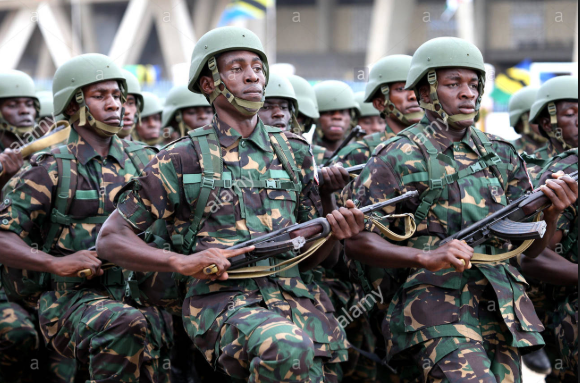 Soldiers attend the parade in the celebration of the 50th anniversary of the union between Tanganyika and Zanzibar (Alamy stock photo)