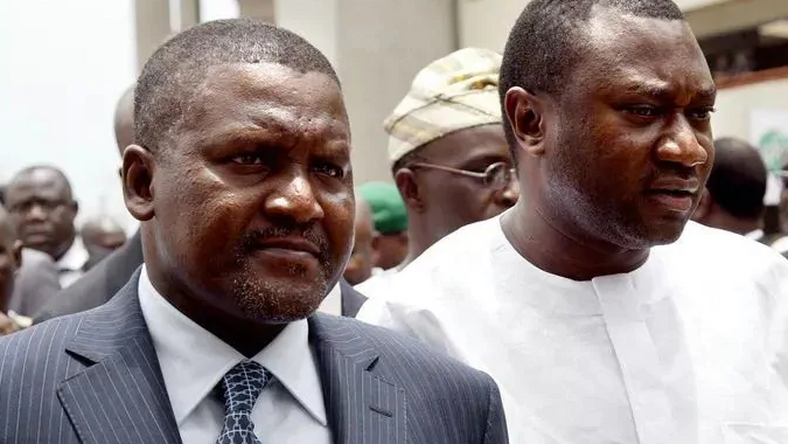Nigerian billionaires, Aliko Dangote and Femi Otedola