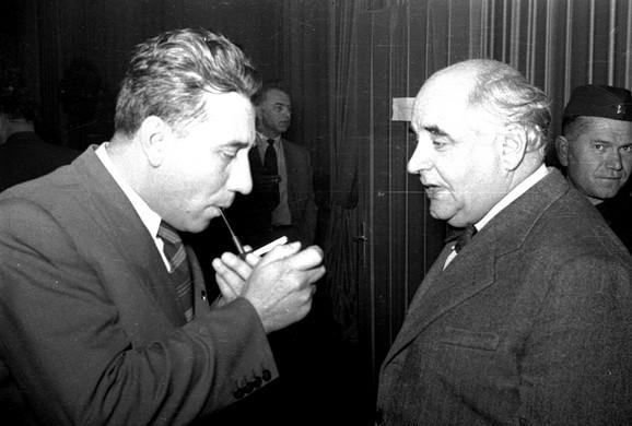 Sa Miroslavom Krležom, Zagreb 1952.