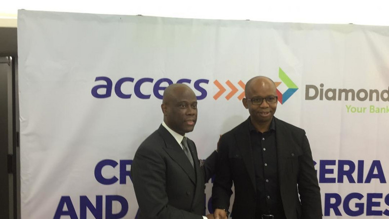 Access Bank CEO, Herbert Wigwe, Diamond Bank CEO, Uzoma  Dozie and other top management at a World Press Conference, December 19, 2018.